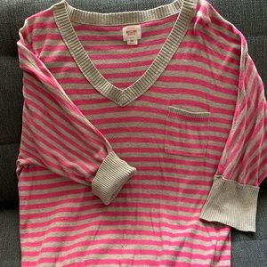 Pink and Tan Striped Sweater